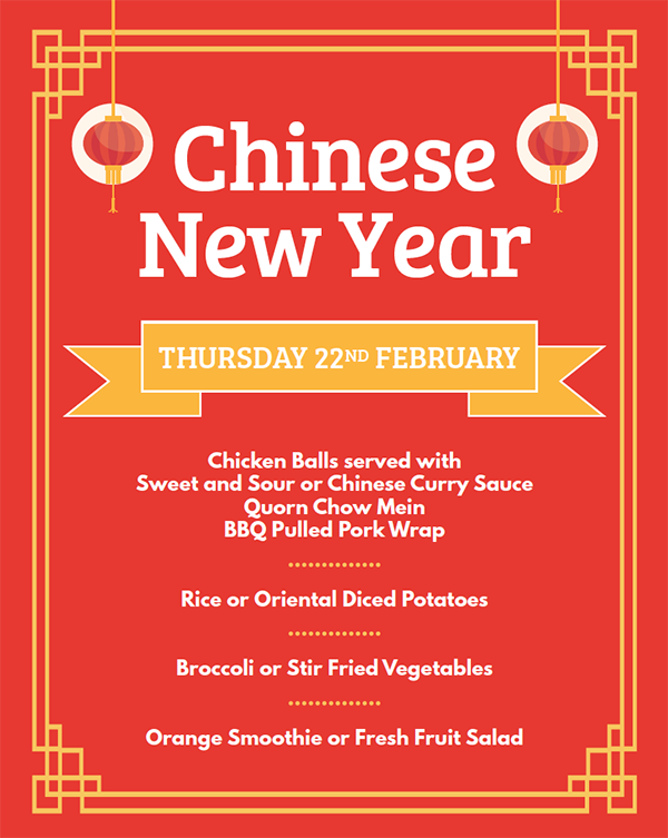 Special Menu Chinese New Year 22 Feb 18